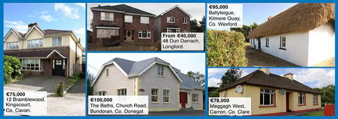 A collection of houses in Ireland rolled into one image with the prices of each on display.