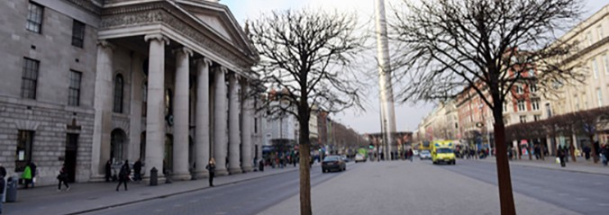 View of the spire and GPO in O'Connell Street