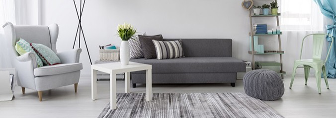 Living room interiors with white and grey colours