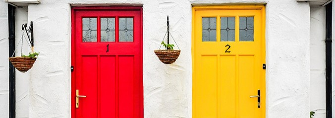 Two front doors one red and one yellow