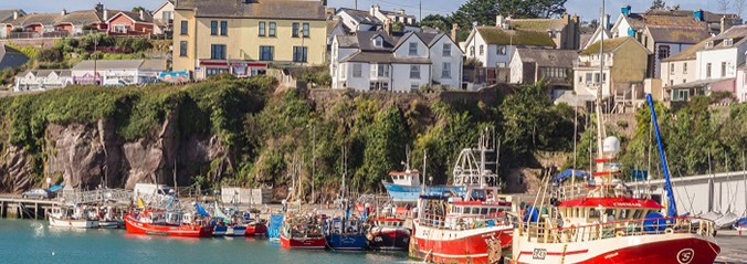 Colourful fishing boats in the harbour, Dunmore East, Waterford, Republic of Ireland