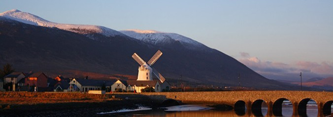 Blennerville Windmill Tralee Co kerry Ireland, With snow cover mountains
